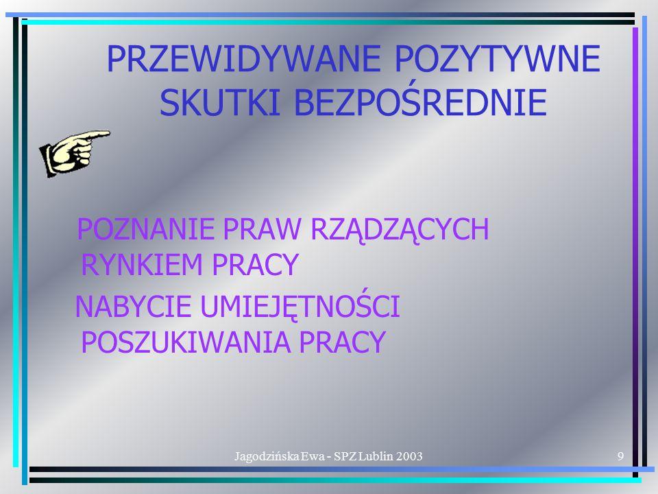 Jagodzińska Ewa - SPZ Lublin 20039 PRZEWIDYWANE POZYTYWNE SKUTKI BEZPOŚREDNIE POZNANIE PRAW RZĄDZĄCYCH RYNKIEM PRACY NABYCIE UMIEJĘTNOŚCI POSZUKIWANIA PRACY
