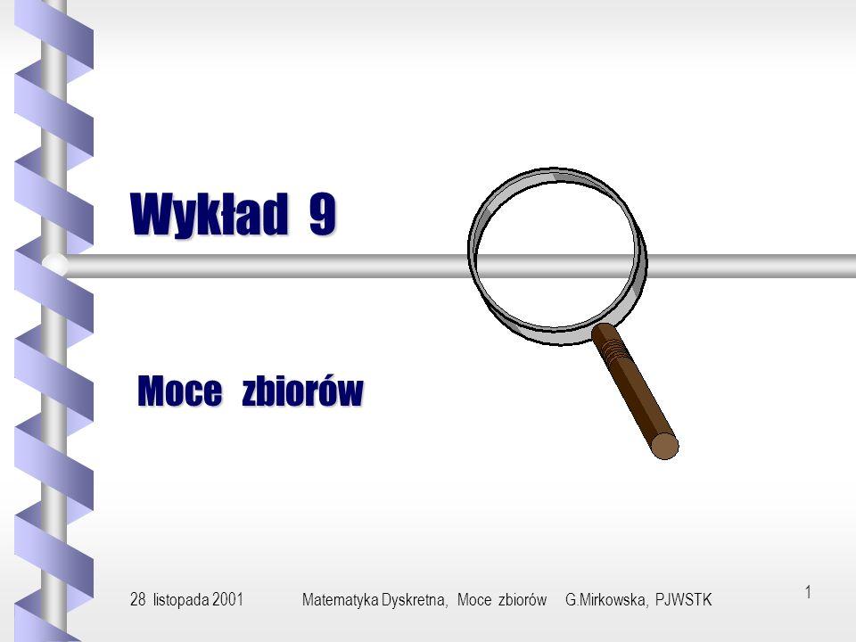 28 listopada 2001Matematyka Dyskretna, Moce zbiorów G.Mirkowska, PJWSTK11 Przykład (3) Zbiór 2 N wszystkich funkcji f : N {0,1} jest nieprzeliczalny.