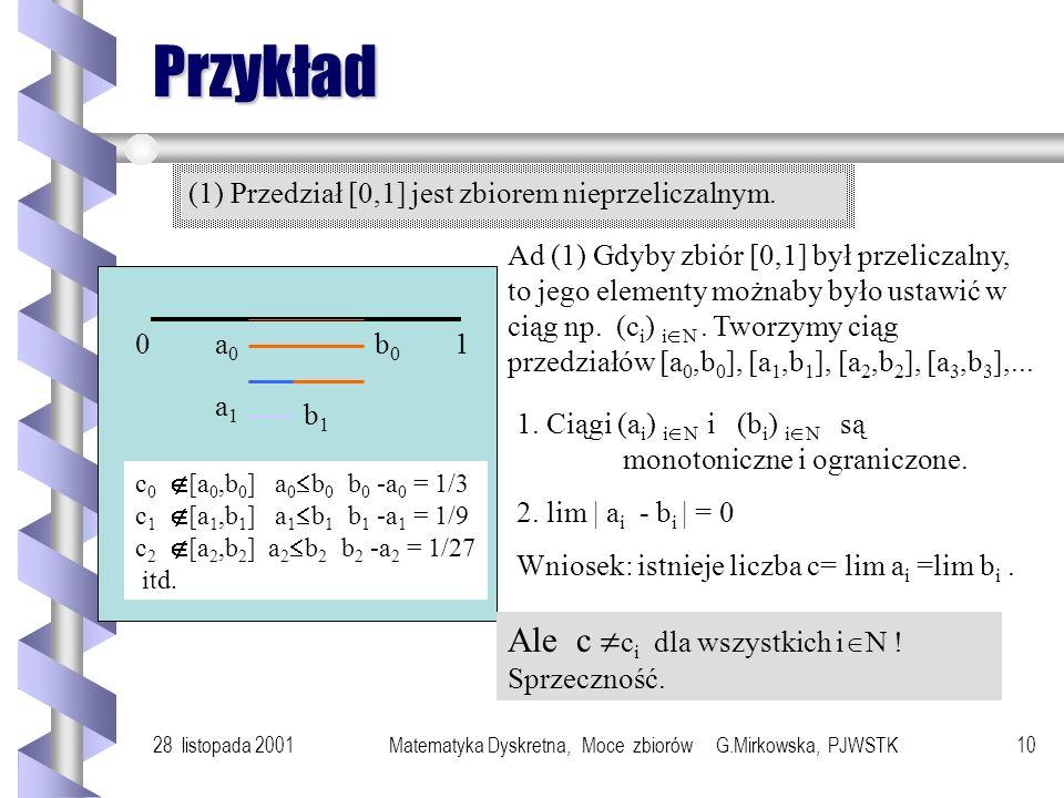 28 listopada 2001Matematyka Dyskretna, Moce zbiorów G.Mirkowska, PJWSTK9 Zbiory nieprzeliczalne Zbiory, które nie są co najwyżej przeliczalne nazywają