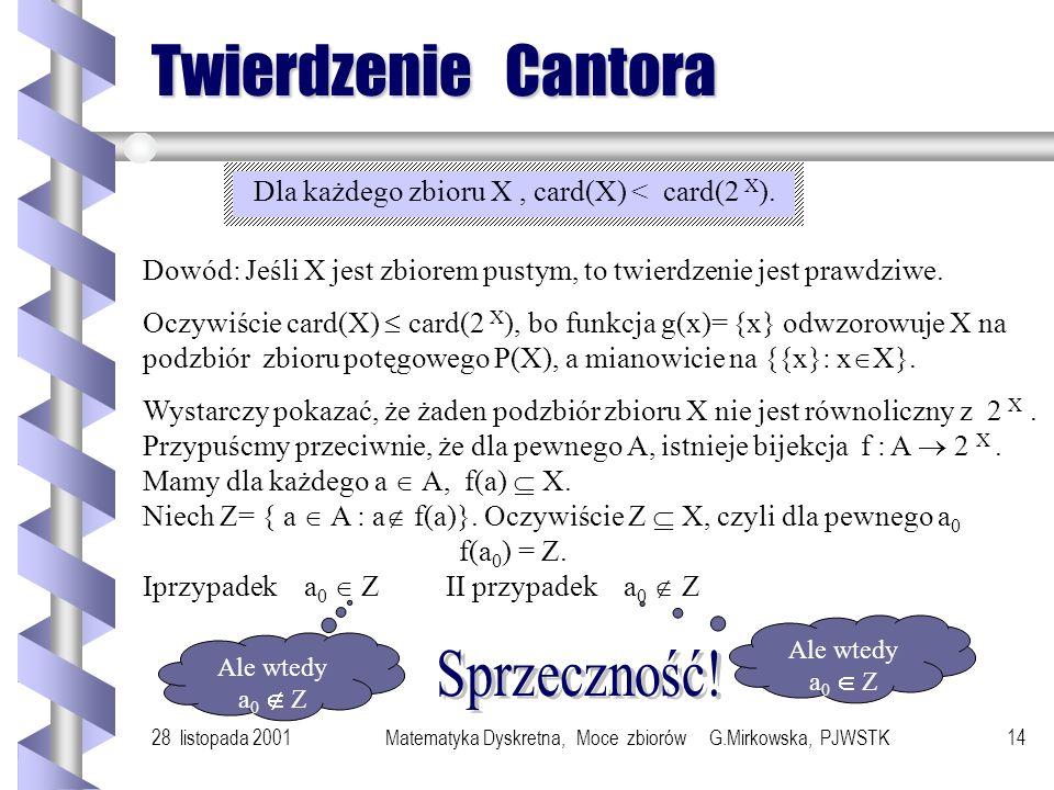 28 listopada 2001Matematyka Dyskretna, Moce zbiorów G.Mirkowska, PJWSTK13 Liczby kardynalne Liczba kardynalna zbioru jest cechą przypisaną zbiorowi w