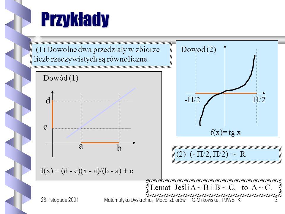 28 listopada 2001Matematyka Dyskretna, Moce zbiorów G.Mirkowska, PJWSTK13 Liczby kardynalne Liczba kardynalna zbioru jest cechą przypisaną zbiorowi w taki sposób, że (1) liczba kardynalna zbioru pustego to 0, (2) liczba kardynalna dowolnego zbioru skończonego, to liczba jego elementów, (3) zbiory równoliczne mają przypisaną tę samą cechę.