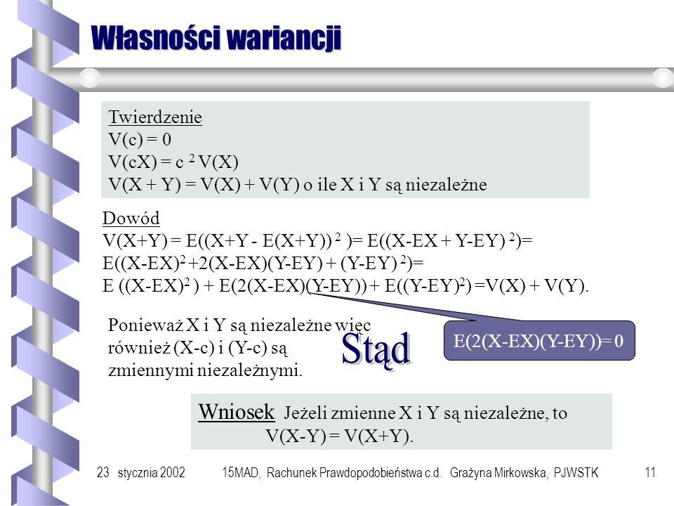 23 stycznia 200215MAD, Rachunek Prawdopodobieństwa c.d. Grażyna Mirkowska, PJWSTK10 Przykład Rozważmy zmienną losową o rozkładzie zero-jedynkowym Wted