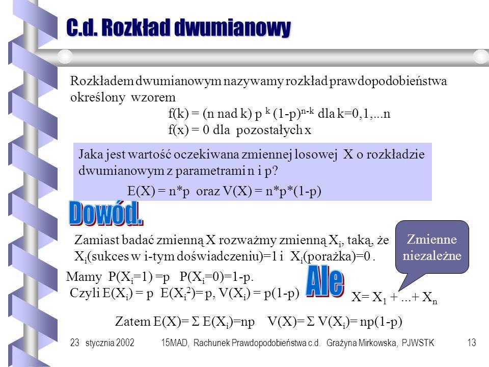 23 stycznia 200215MAD, Rachunek Prawdopodobieństwa c.d. Grażyna Mirkowska, PJWSTK12 Schemat Bernoulliego Niech D będzie pewnym doświadczeniem, w wynik