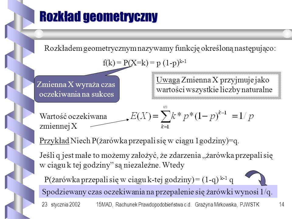 23 stycznia 200215MAD, Rachunek Prawdopodobieństwa c.d. Grażyna Mirkowska, PJWSTK13 C.d. Rozkład dwumianowy Rozkładem dwumianowym nazywamy rozkład pra