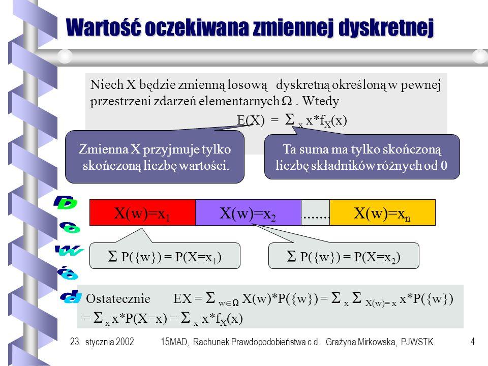 23 stycznia 200215MAD, Rachunek Prawdopodobieństwa c.d. Grażyna Mirkowska, PJWSTK3 Wartość oczekiwana Definicja - skończona przestrzeń zdarzeń element