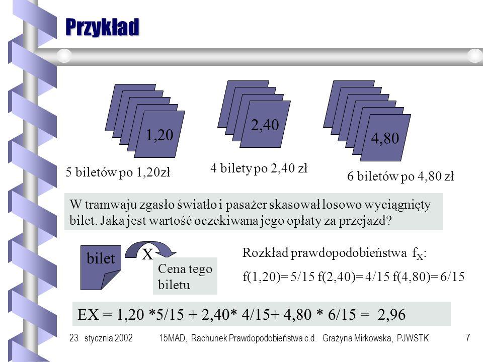 23 stycznia 200215MAD, Rachunek Prawdopodobieństwa c.d. Grażyna Mirkowska, PJWSTK6 Przykład Rozważmy program : x:= 0; p := false; while p = false do x
