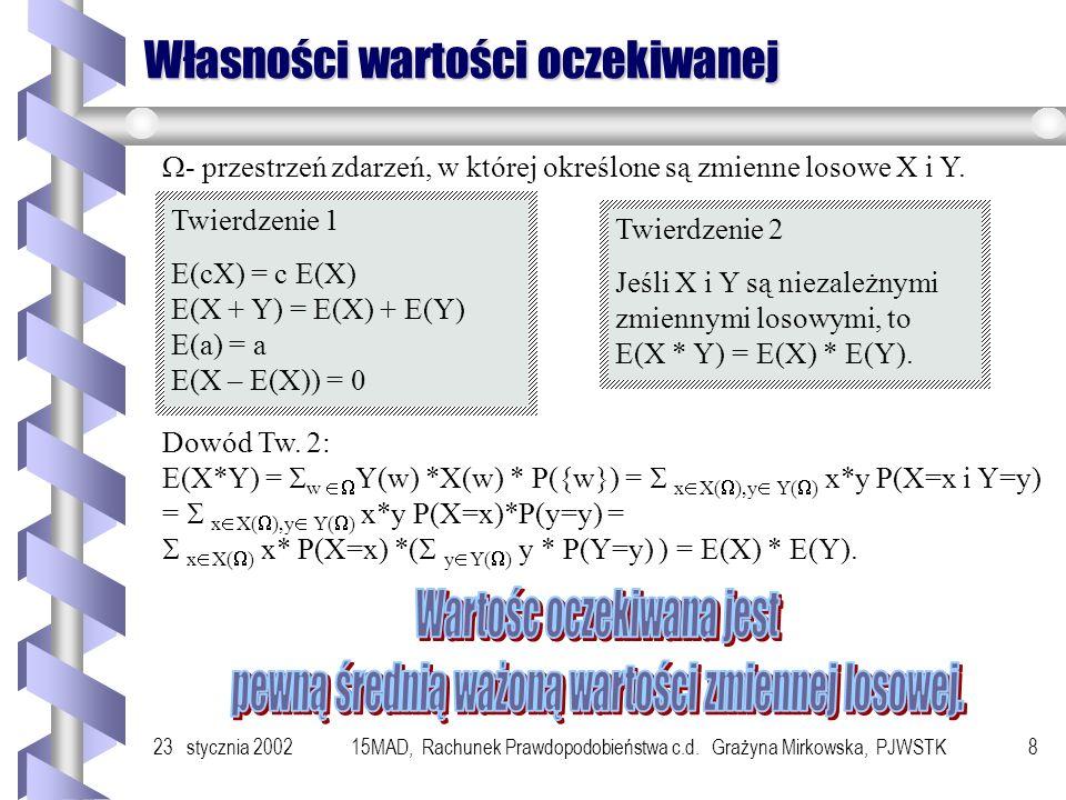 23 stycznia 200215MAD, Rachunek Prawdopodobieństwa c.d. Grażyna Mirkowska, PJWSTK7 Przykład 5 biletów po 1,20zł 4 bilety po 2,40 zł 1,20 2,40 4,80 6 b