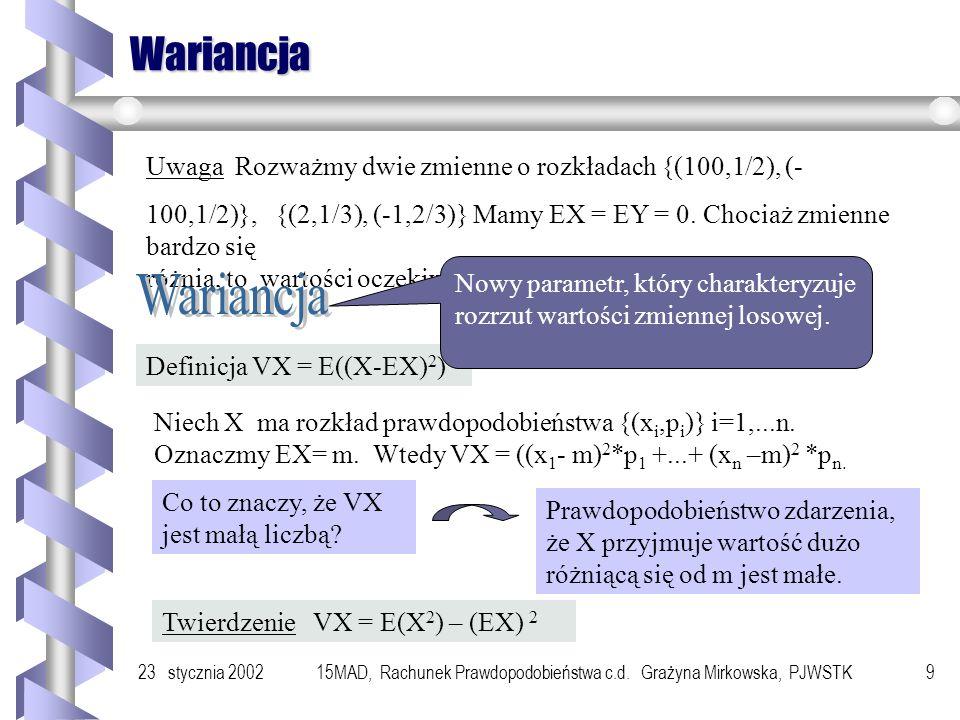 23 stycznia 200215MAD, Rachunek Prawdopodobieństwa c.d. Grażyna Mirkowska, PJWSTK8 Własności wartości oczekiwanej - przestrzeń zdarzeń, w której okreś