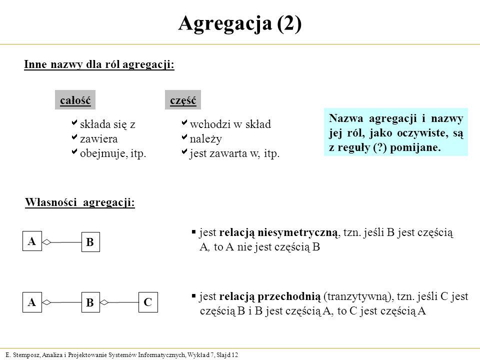 E. Stemposz, Analiza i Projektowanie Systemów Informatycznych, Wykład 7, Slajd 12 Agregacja (2) Inne nazwy dla ról agregacji: całość składa się z zawi