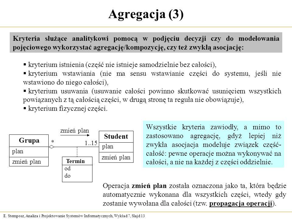 E. Stemposz, Analiza i Projektowanie Systemów Informatycznych, Wykład 7, Slajd 13 Agregacja (3) Kryteria służące analitykowi pomocą w podjęciu decyzji