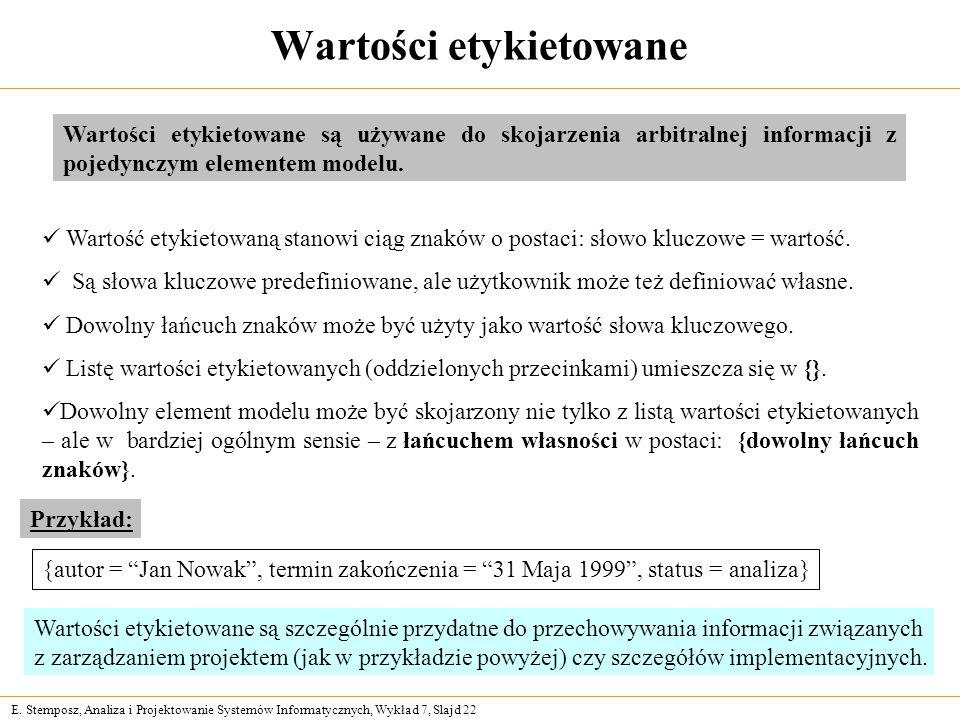 E. Stemposz, Analiza i Projektowanie Systemów Informatycznych, Wykład 7, Slajd 22 Wartość etykietowaną stanowi ciąg znaków o postaci: słowo kluczowe =