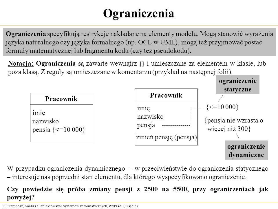 E. Stemposz, Analiza i Projektowanie Systemów Informatycznych, Wykład 7, Slajd 23 Ograniczenia Ograniczenia specyfikują restrykcje nakładane na elemen