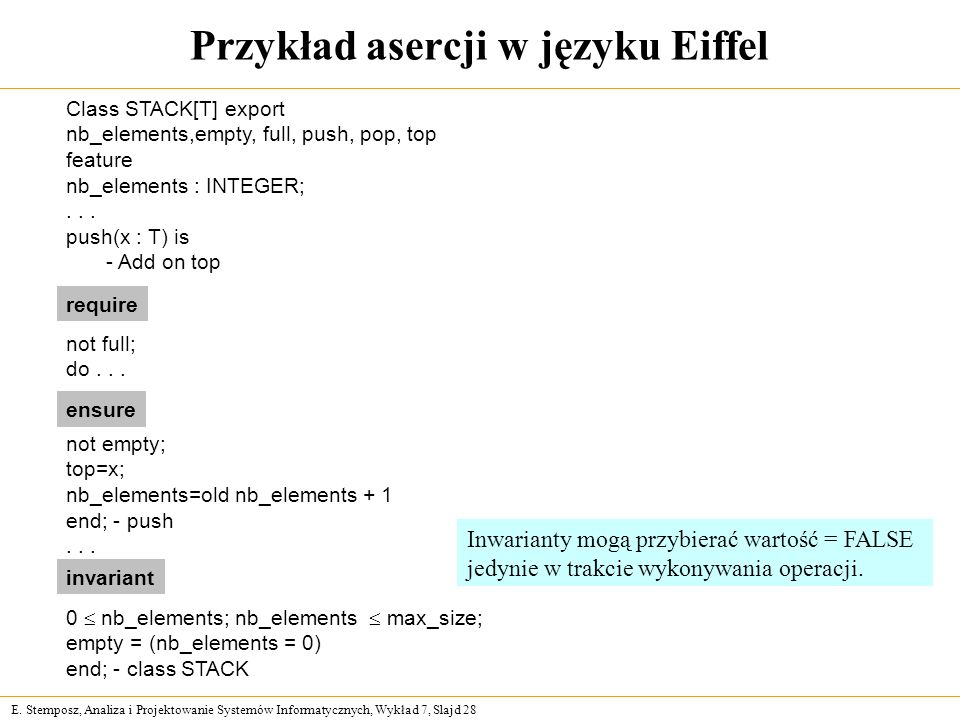 E. Stemposz, Analiza i Projektowanie Systemów Informatycznych, Wykład 7, Slajd 28 Przykład asercji w języku Eiffel Class STACK[T] export nb_elements,e