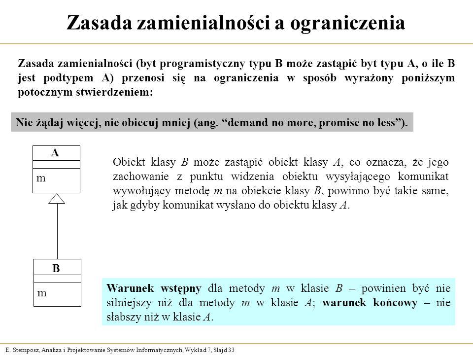 E. Stemposz, Analiza i Projektowanie Systemów Informatycznych, Wykład 7, Slajd 33 Zasada zamienialności a ograniczenia Zasada zamienialności (byt prog
