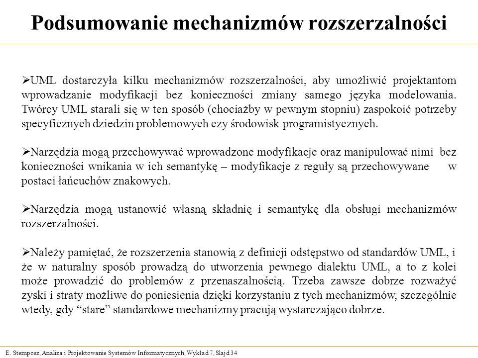 E. Stemposz, Analiza i Projektowanie Systemów Informatycznych, Wykład 7, Slajd 34 Podsumowanie mechanizmów rozszerzalności UML dostarczyła kilku mecha