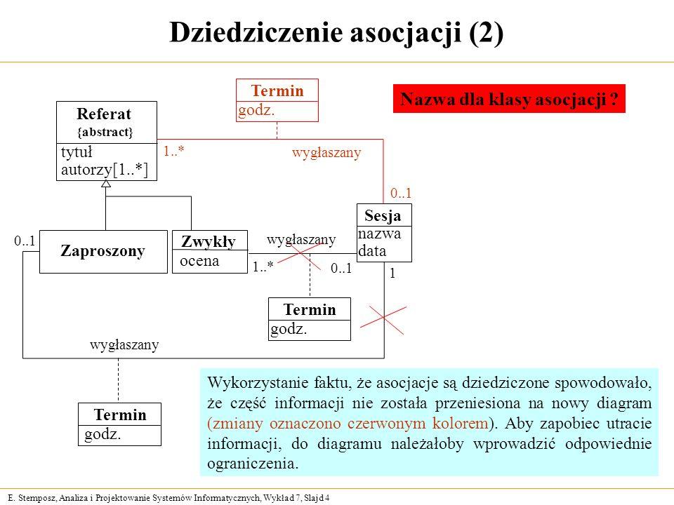 E. Stemposz, Analiza i Projektowanie Systemów Informatycznych, Wykład 7, Slajd 4 Dziedziczenie asocjacji (2) Referat {abstract} tytuł autorzy[1..*] Za