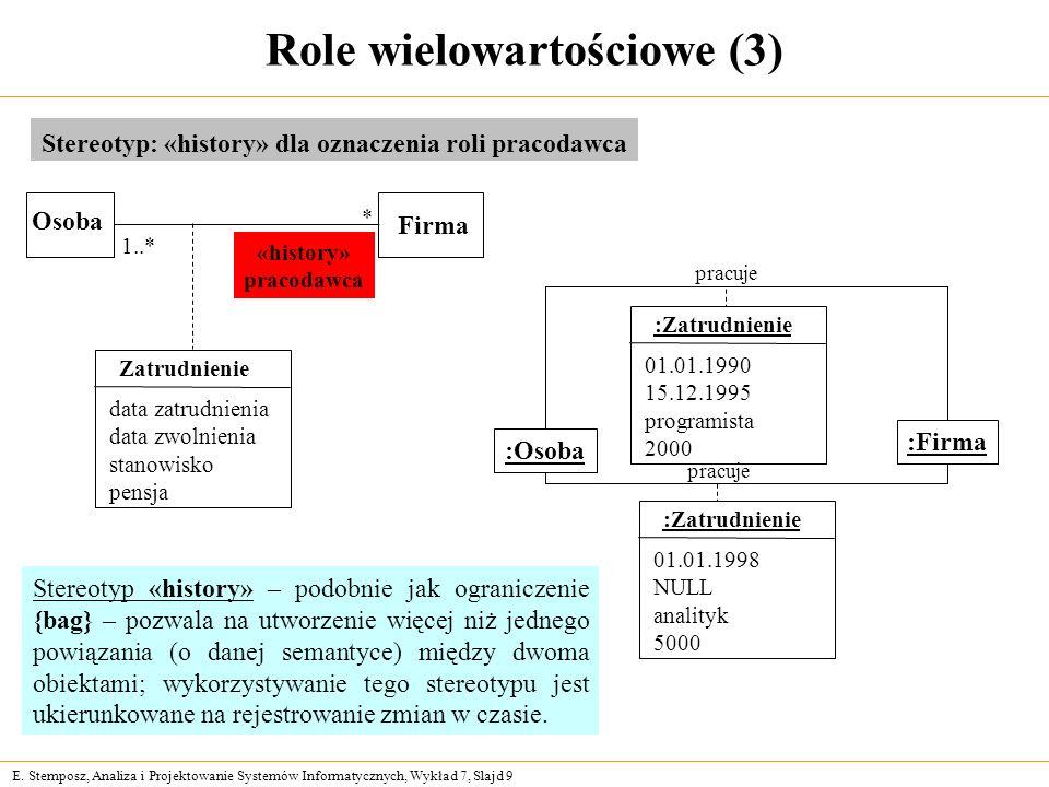 E. Stemposz, Analiza i Projektowanie Systemów Informatycznych, Wykład 7, Slajd 9 Role wielowartościowe (3) Stereotyp: «history» dla oznaczenia roli pr