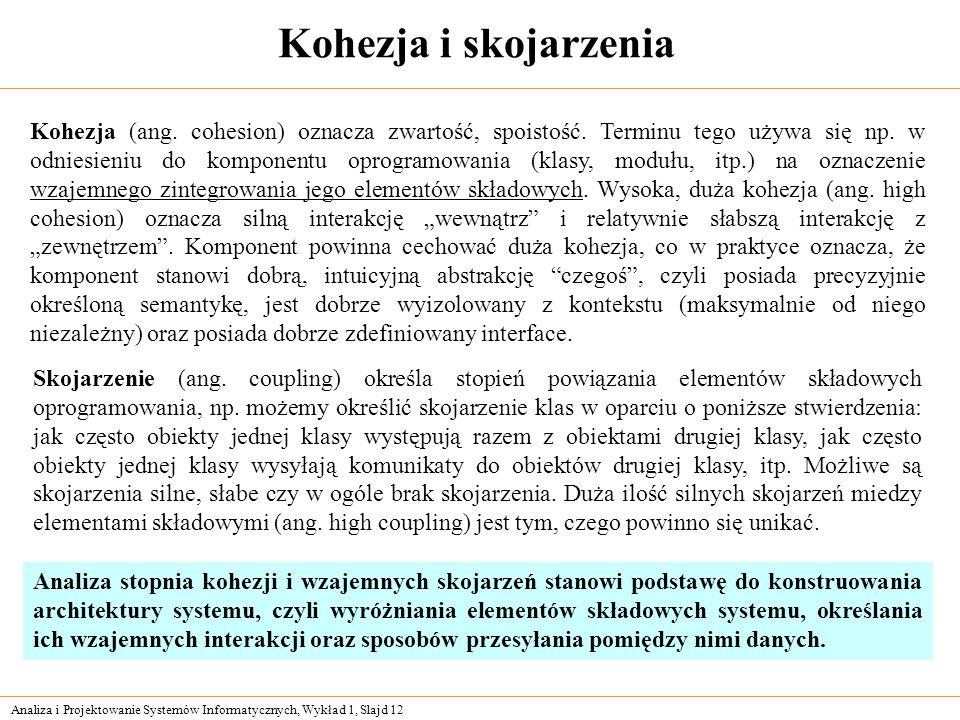 Analiza i Projektowanie Systemów Informatycznych, Wykład 1, Slajd 12 Kohezja i skojarzenia Kohezja (ang. cohesion) oznacza zwartość, spoistość. Termin