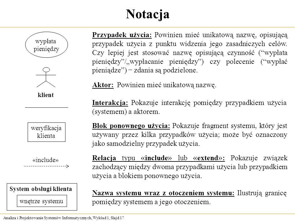 Analiza i Projektowanie Systemów Informatycznych, Wykład 1, Slajd 17 Notacja Przypadek użycia: Powinien mieć unikatową nazwę, opisującą przypadek użyc