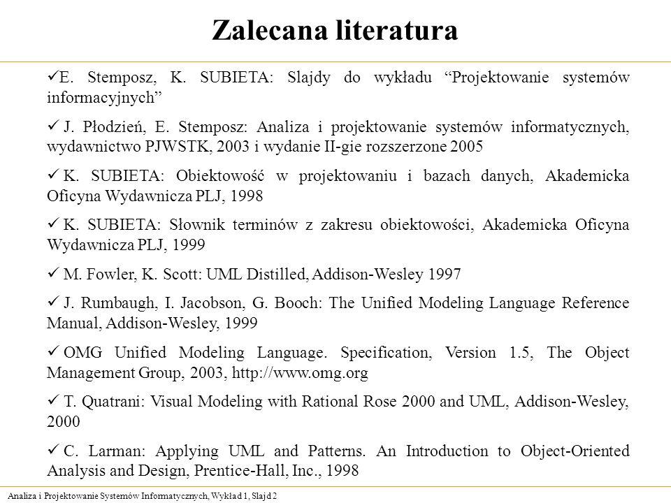 Analiza i Projektowanie Systemów Informatycznych, Wykład 1, Slajd 2 Zalecana literatura E. Stemposz, K. SUBIETA: Slajdy do wykładu Projektowanie syste