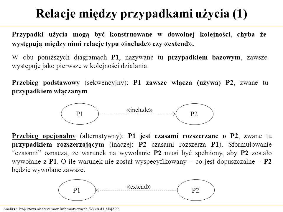 Analiza i Projektowanie Systemów Informatycznych, Wykład 1, Slajd 22 Relacje między przypadkami użycia (1) Przypadki użycia mogą być konstruowane w do