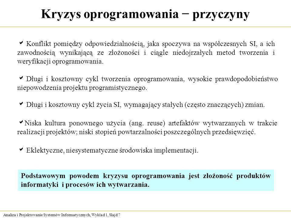 Analiza i Projektowanie Systemów Informatycznych, Wykład 1, Slajd 7 Kryzys oprogramowania przyczyny Konflikt pomiędzy odpowiedzialnością, jaka spoczyw