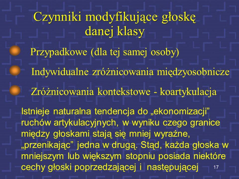 16 Cechy artykulacji, które nie są charakterystyczne dla danego języka, wynikają bowiem z ogólnych anatomicznych i fizjologicznych właściwości narządu