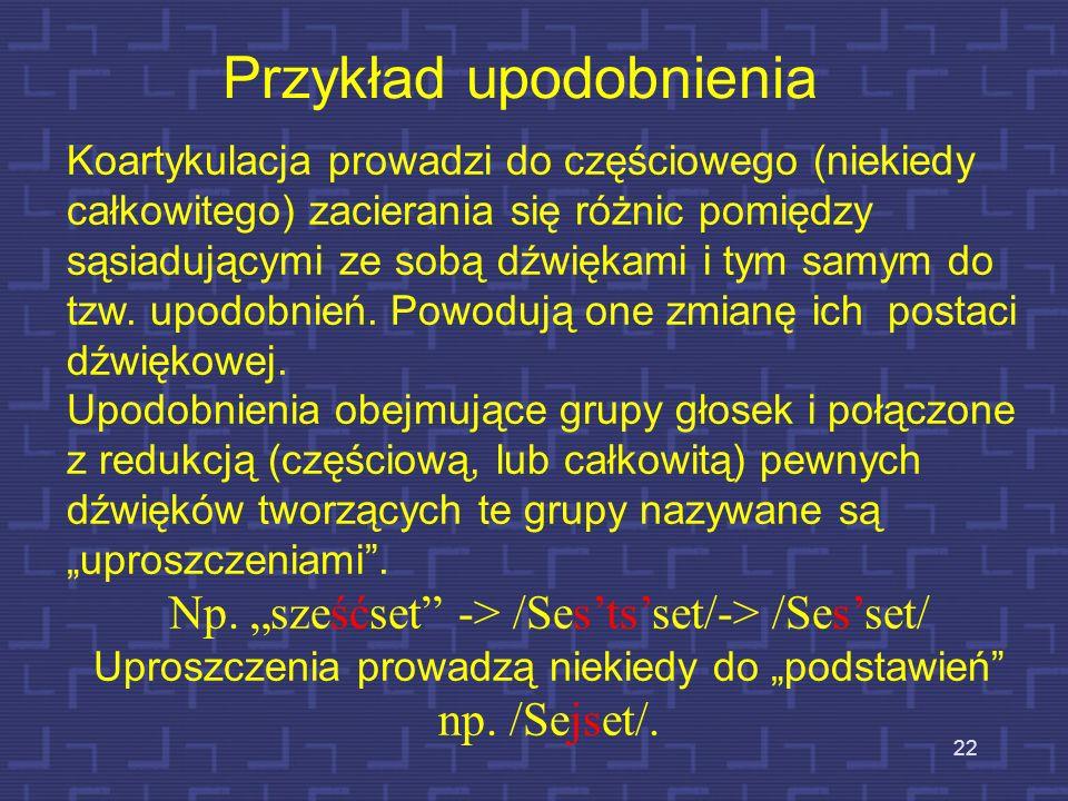 21 1) Zaokrąglenie warg typowe dla samogłoski /u/ może przenosić się na sąsiadujące z nią głoski, np. lukier. 2) Podobnie, jeśli nie ma sprzeczności w