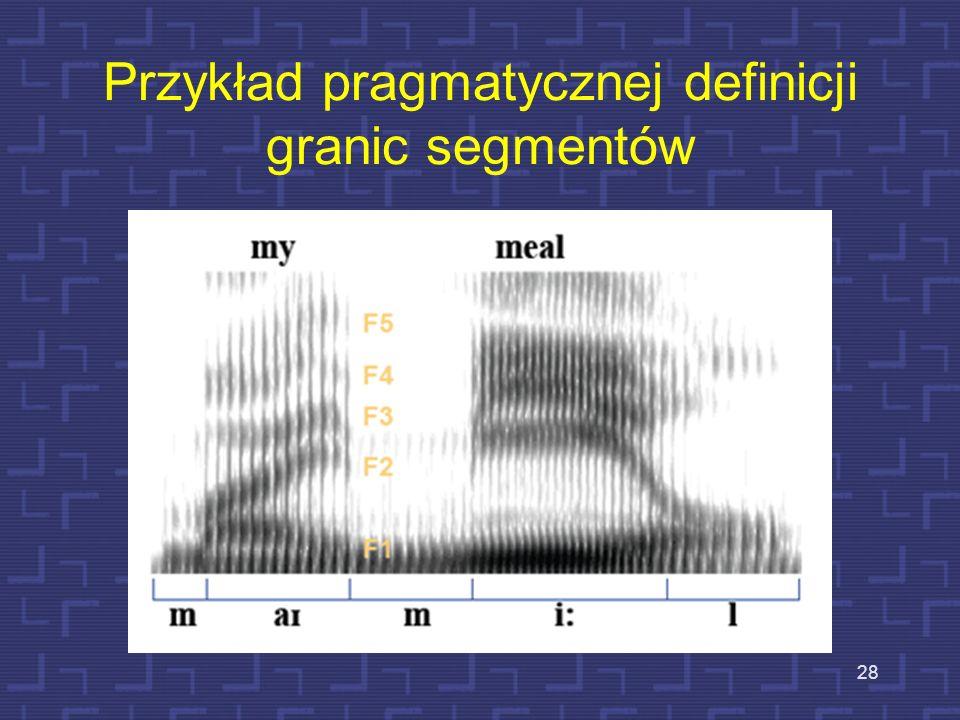 Pragmatyczna definicja granic segmentalnych sygnału mowy 27 Przyjmuje się założenie, że każda głoska jest reprezentowana przez quasistacjonarne widmo