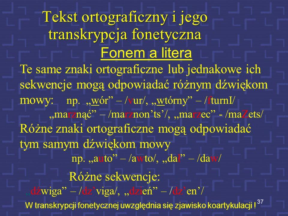 Kod SAMPA 36 W transkrypcji fonetycznej tekstów ortograficznych stosowany jest kod SAMPA. Wersja polska: http://www.phon.ucl.ac.uk/home/sampa/polish.h