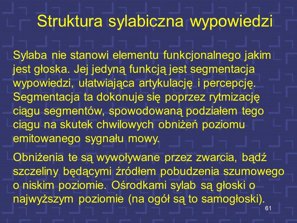 60 Granice między sylabami Granice sylab fonetycznych wypadają w momentach zamknięcia toru głosowego lub powstania w nim znacznego zwężenia, ewentualn