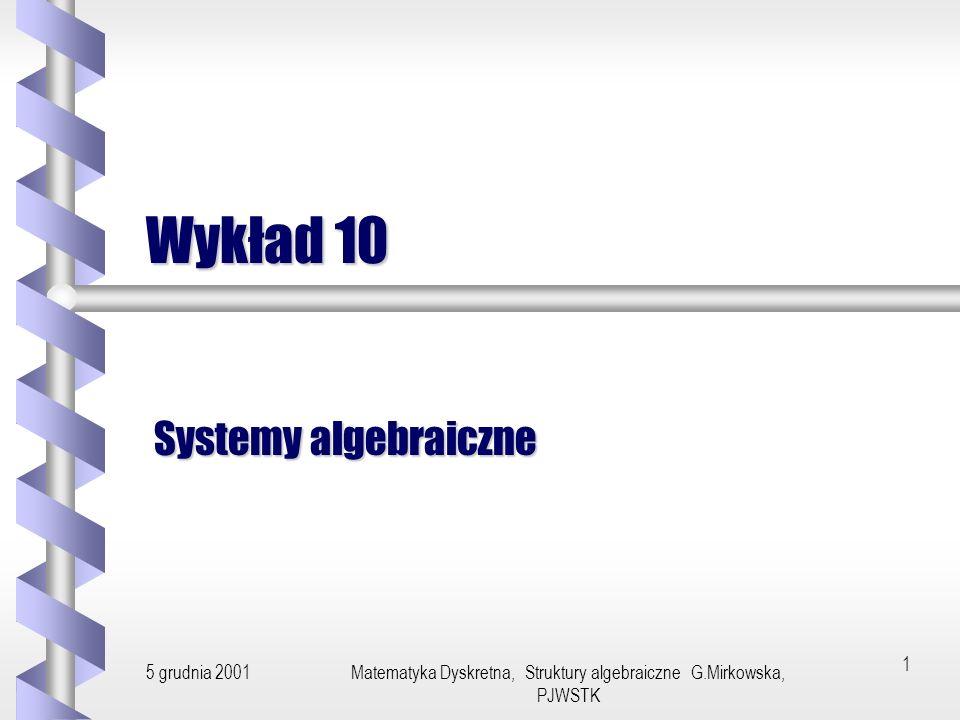 5 grudnia 2001Matematyka Dyskretna, Struktury algebraiczne G.Mirkowska, PJWSTK11 Izomorfizm Jeżeli h jest homomorfizmem odwzorowującym system A w system podobny B oraz h jest bijekcją, to h nazywamy izomorfizmem.