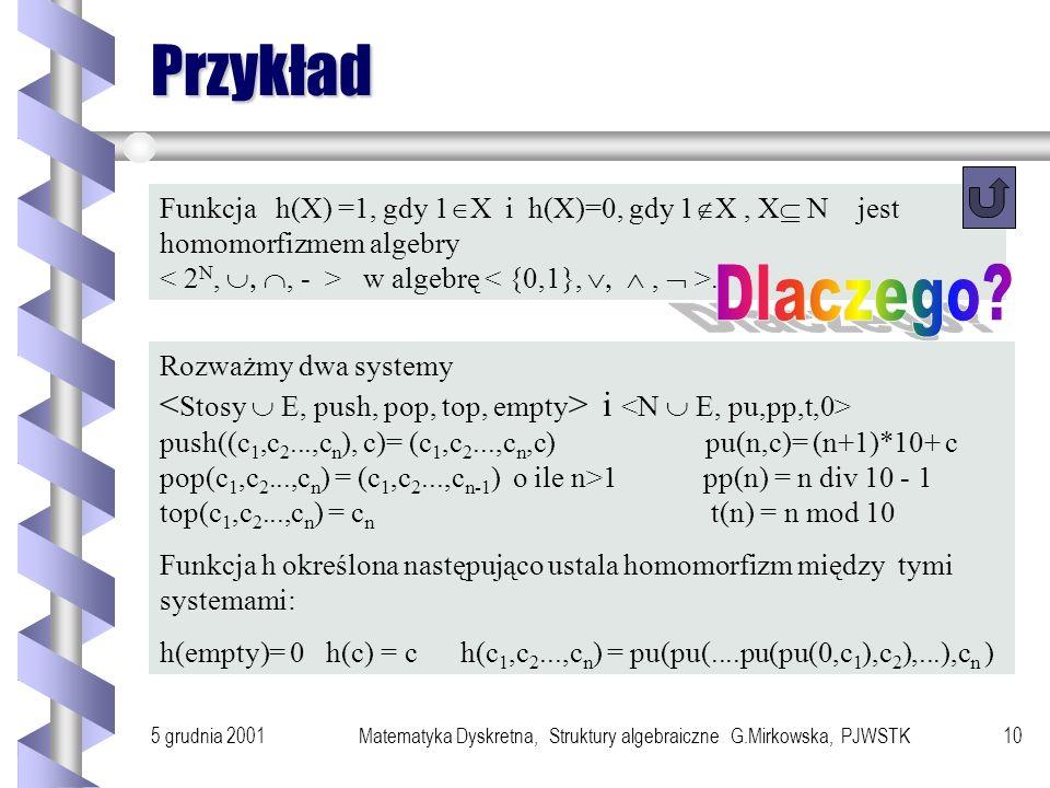 5 grudnia 2001Matematyka Dyskretna, Struktury algebraiczne G.Mirkowska, PJWSTK9 Zachowywanie operacji przez homomorhizm a1 a2 an a o(a1,a2,...,an)= ao