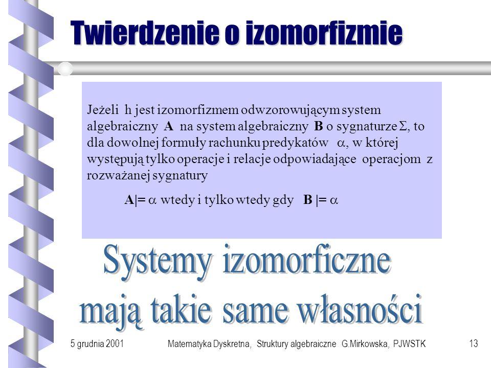 5 grudnia 2001Matematyka Dyskretna, Struktury algebraiczne G.Mirkowska, PJWSTK12 Fakty Złożenie dwóch homomorfizmów jest homomorfizmem. Złożenie dwóch