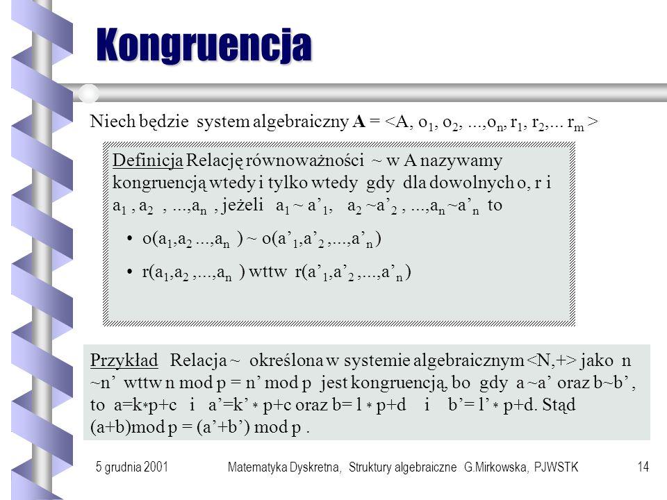 5 grudnia 2001Matematyka Dyskretna, Struktury algebraiczne G.Mirkowska, PJWSTK13 Twierdzenie o izomorfizmie Jeżeli h jest izomorfizmem odwzorowującym