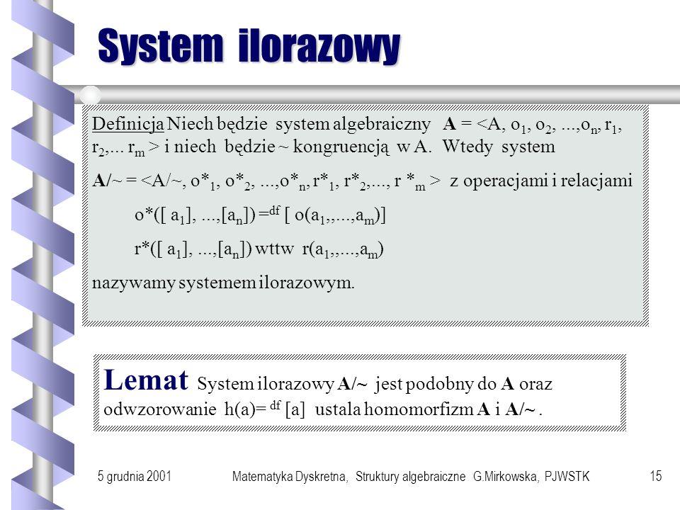 5 grudnia 2001Matematyka Dyskretna, Struktury algebraiczne G.Mirkowska, PJWSTK14 Kongruencja Niech będzie system algebraiczny A = Definicja Relację ró