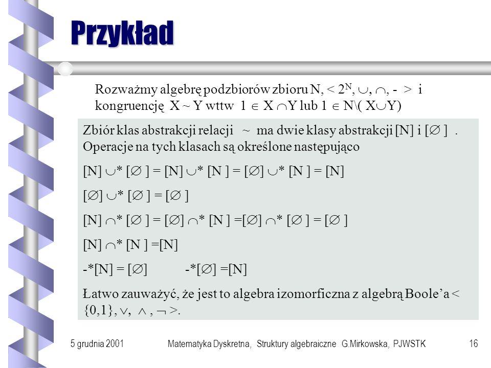 5 grudnia 2001Matematyka Dyskretna, Struktury algebraiczne G.Mirkowska, PJWSTK15 System ilorazowy Definicja Niech będzie system algebraiczny A = i nie