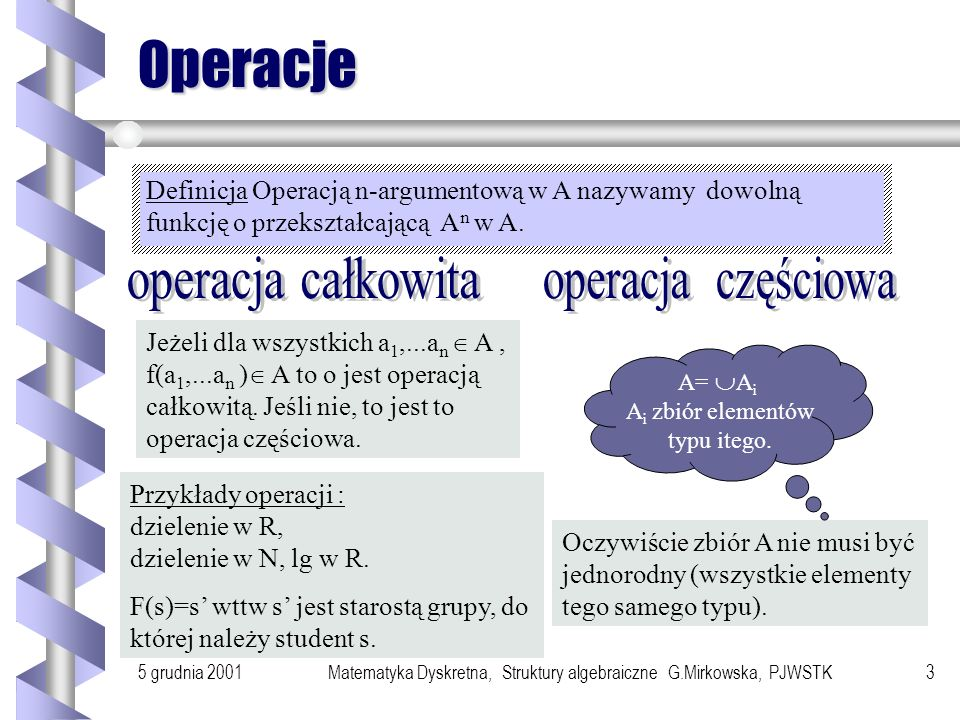 5 grudnia 2001Matematyka Dyskretna, Struktury algebraiczne G.Mirkowska, PJWSTK3 Operacje Definicja Operacją n-argumentową w A nazywamy dowolną funkcję o przekształcającą A n w A.