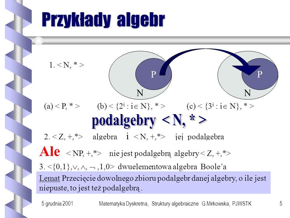 5 grudnia 2001Matematyka Dyskretna, Struktury algebraiczne G.Mirkowska, PJWSTK4 System algebraiczny Definicja Systemem algebraicznym nazywamy układ (
