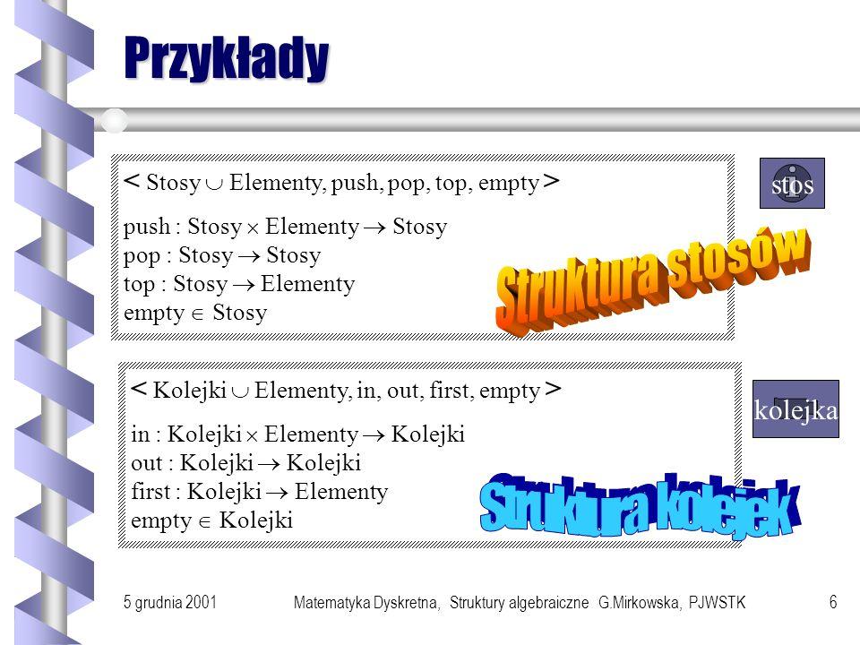 5 grudnia 2001Matematyka Dyskretna, Struktury algebraiczne G.Mirkowska, PJWSTK5 Przykłady algebr 1. N P N P (a) 2. algebra i jej podalgebra (b) (c) Al