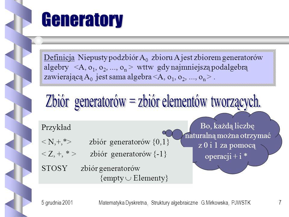 5 grudnia 2001Matematyka Dyskretna, Struktury algebraiczne G.Mirkowska, PJWSTK7 Generatory Definicja Niepusty podzbiór A 0 zbioru A jest zbiorem generatorów algebry wttw gdy najmniejszą podalgebrą zawierającą A 0 jest sama algebra.