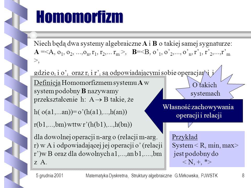 5 grudnia 2001Matematyka Dyskretna, Struktury algebraiczne G.Mirkowska, PJWSTK8 Homomorfizm Niech będą dwa systemy algebraiczne A i B o takiej samej sygnaturze: A =, B=, gdzie o i i o i oraz r j i r j są odpowiadającymi sobie operacjami i relacjami.
