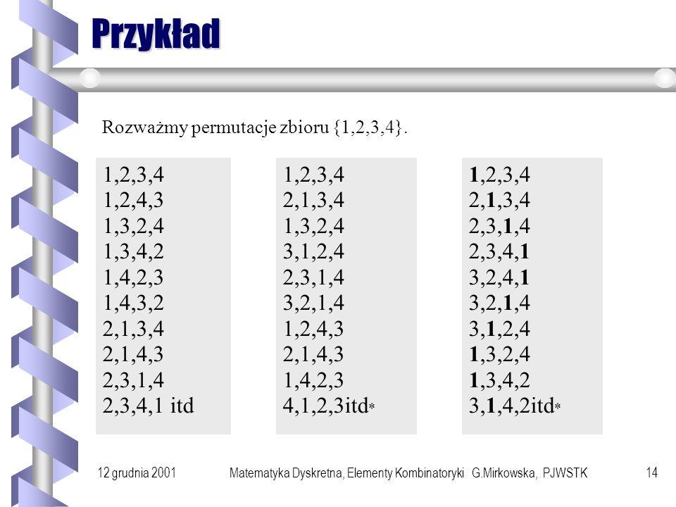 12 grudnia 2001Matematyka Dyskretna, Elementy Kombinatoryki G.Mirkowska, PJWSTK13 Oszacowanie Oszacowanie 1.