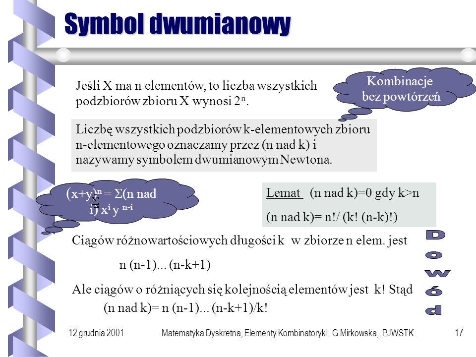 12 grudnia 2001Matematyka Dyskretna, Elementy Kombinatoryki G.Mirkowska, PJWSTK16 Generowanie permutacji Generowanie wszystkich permutacji przez minimalną liczbę transpozycji sąsiednich elementów.