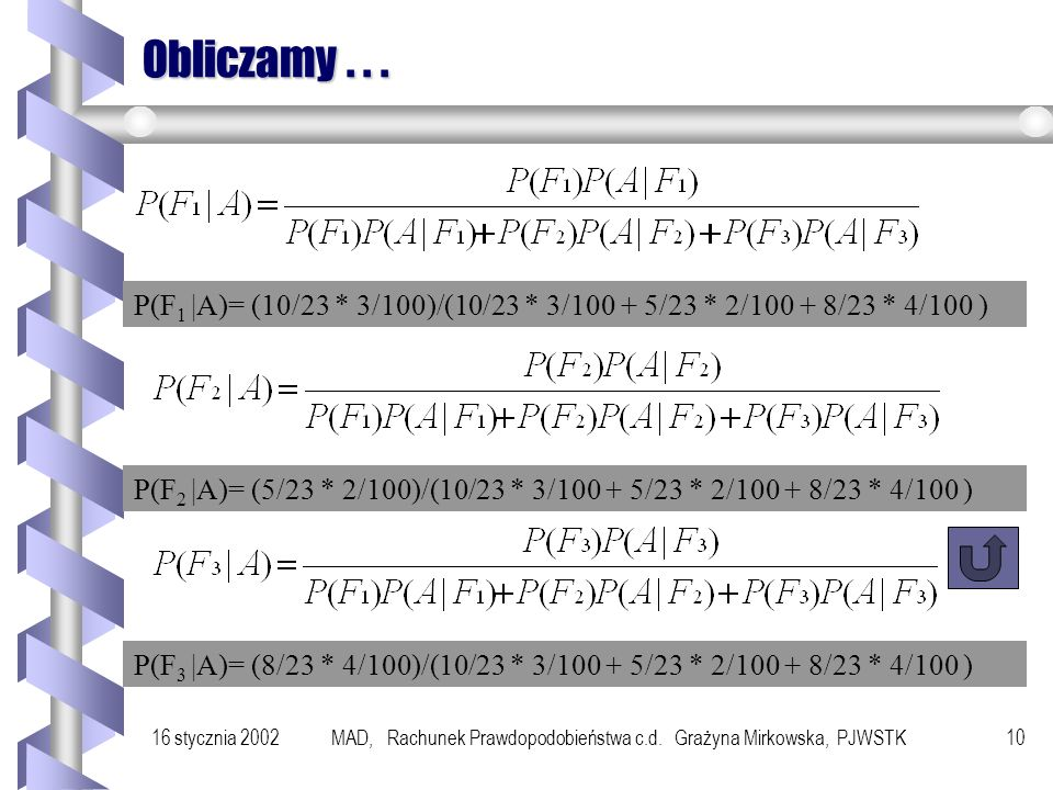 16 stycznia 2002MAD, Rachunek Prawdopodobieństwa c.d. Grażyna Mirkowska, PJWSTK9 Przykład 100 sztuk Fabryka I 50 sztuk Fabryka II 80 sztuk Fabryka III