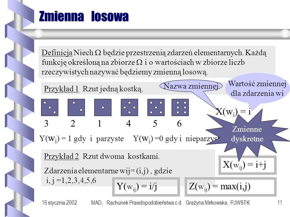 16 stycznia 2002MAD, Rachunek Prawdopodobieństwa c.d. Grażyna Mirkowska, PJWSTK10 Obliczamy... P(F 1 |A)= (10/23 * 3/100)/(10/23 * 3/100 + 5/23 * 2/10