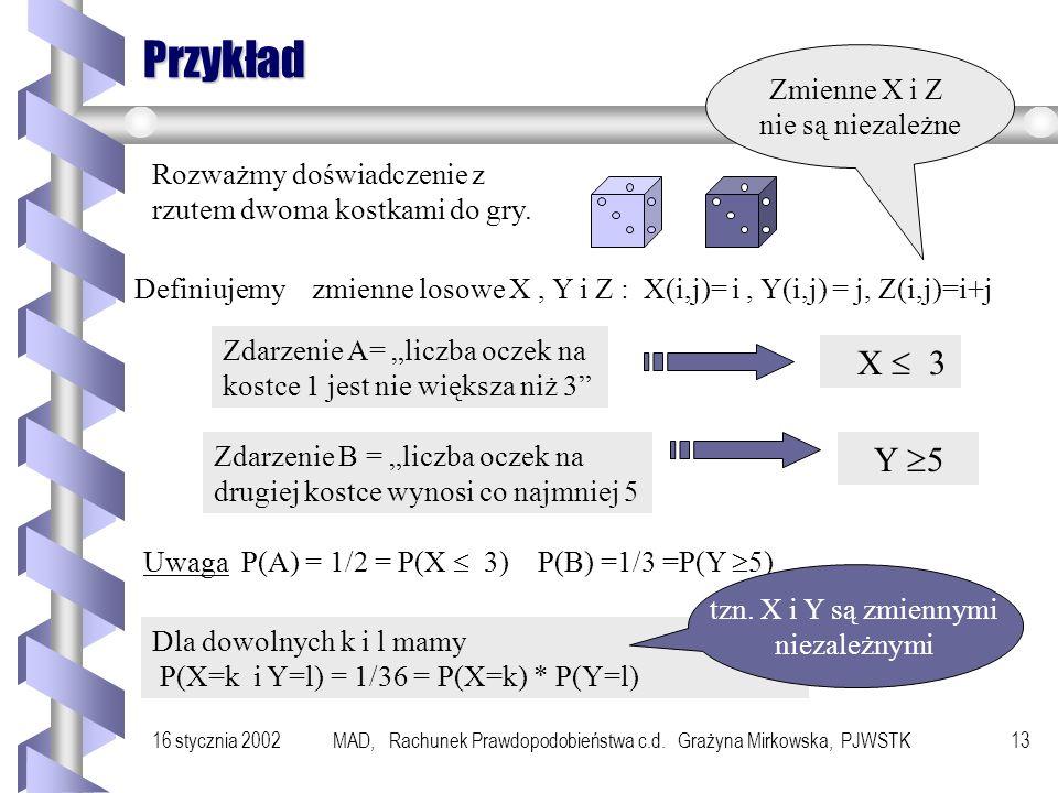 16 stycznia 2002MAD, Rachunek Prawdopodobieństwa c.d. Grażyna Mirkowska, PJWSTK12 Niezależność zmiennych losowych Definicja Powiemy, że dwie zmienne l