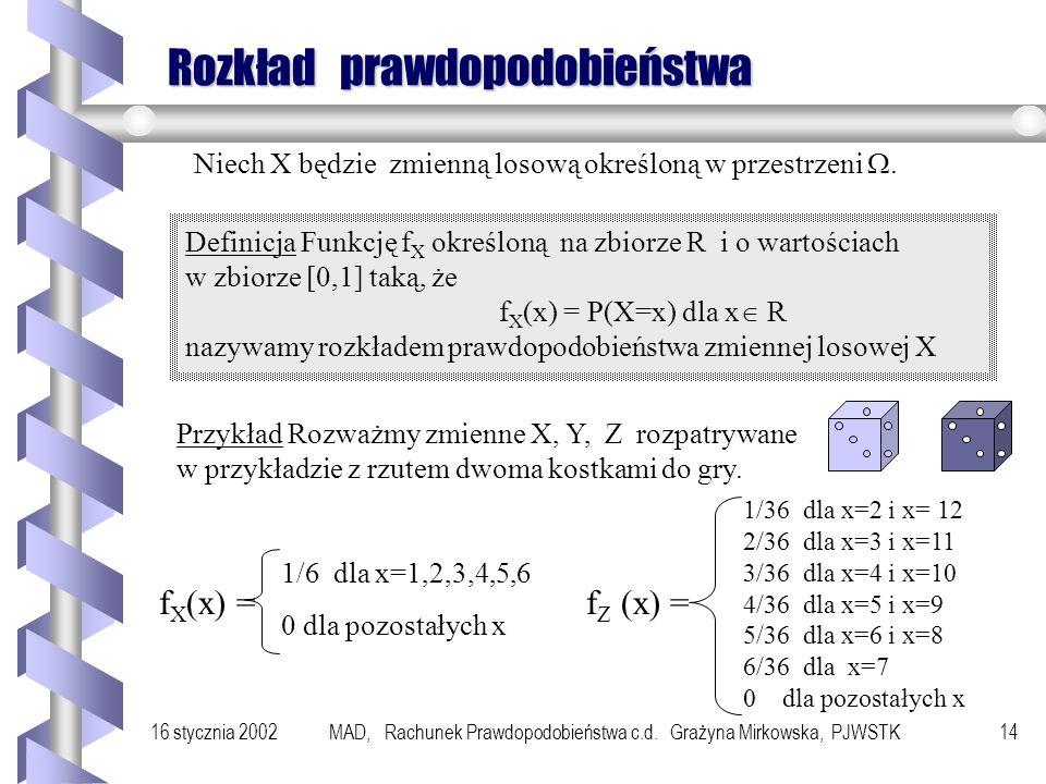 16 stycznia 2002MAD, Rachunek Prawdopodobieństwa c.d. Grażyna Mirkowska, PJWSTK13 Przykład Rozważmy doświadczenie z rzutem dwoma kostkami do gry. Defi