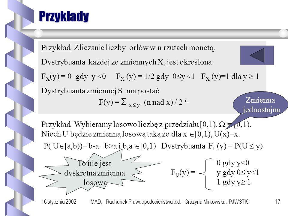 16 stycznia 2002MAD, Rachunek Prawdopodobieństwa c.d. Grażyna Mirkowska, PJWSTK16 Dystrybuanta Definicja Niech X będzie zmienną losową określoną na do