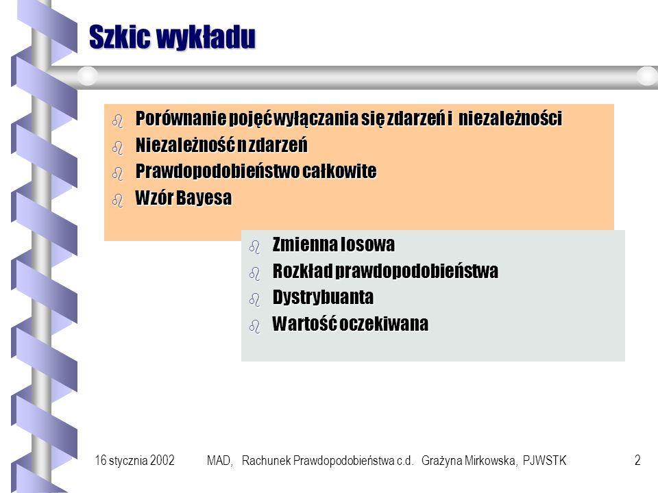 16 stycznia 2002MAD, Rachunek Prawdopodobieństwa c.d. Grażyna Mirkowska, PJWSTK 1 Wykład 14 Elementy Rachunku Prawdopodobieństwa c.d.